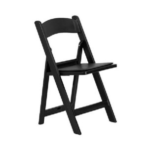 Chair – Folding Wood with Pad Seat – Black