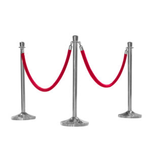 STANCHION & ROPE WITH CHROME TIPS (RED))